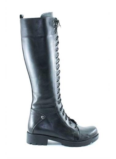 Modabuymus Modabuymus Hakiki Deri Kadın Bağcıklı Kısa Topuklu  Çizme - Punderfan Siyah